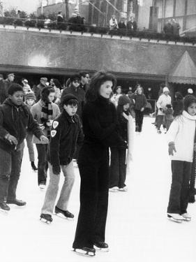 Jacqueline Kennedy Onassis Ice Skating at Rockefeller Center, New York City, Sept 9, 1970