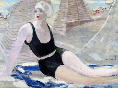 Bather in Black Swimming Suit