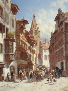 Figures on the Street in Zug, Switzerland, 1880 by Jacques Carabain