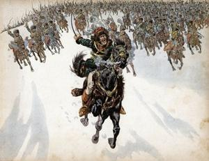 Murat at the Head of the Cavalry in Battle of Eylau by Jacques de Breville
