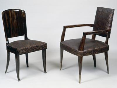 Art Deco Style Armchair and Chair, 1928-1930