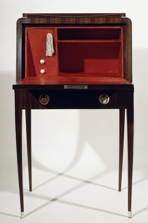 Art Deco Style Drop Leaf Desk, with Long Slender Legs, Macassar Ebony, Ivory, Red Leather Interior
