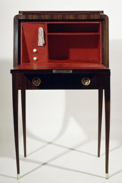 Art Deco Style Drop Leaf Desk, with Long Slender Legs, Macassar Ebony, Ivory, Red Leather Interior by Jacques-emile Ruhlmann
