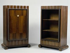 Art Deco Style Mini Bar and Bookcase, Stelcavgo Model, 1928 and 1927 by Jacques-emile Ruhlmann