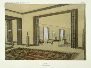 Salon, from 'Repertoire of Modern Taste', Published 1929 (Colour Litho) by Jacques-emile Ruhlmann