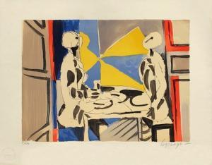 Deux personnages a table by Jacques Lagrange