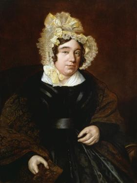 Portrait of Mrs. Edward Cross, Seated Half-Length in a Dark Satin Dress with a Paisley Shawl by Jacques-Laurent Agasse