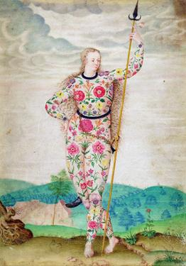 A Young Daughter of the Picts, C.1585 (W/C and Gouache with Gold on Vellum) by Jacques Le Moyne