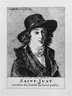 Louis Antoine Leon De Saint-Just, Engraved by Frederic Desire Hillemacher (1811-86) 1869 by Jacques-Louis David