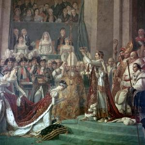 Painting of Napoleon Buonaparte and Empress Josephine, 18th Century by Jacques-Louis David