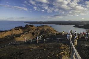 A Group of Tourists Hiking on Bartolome Island by Jad Davenport