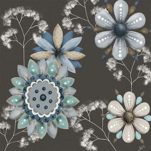 Blue Floral on Sepia II by Jade Reynolds