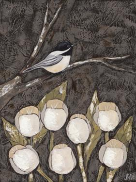 Chickadee & Tulips I by Jade Reynolds