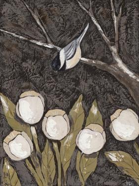 Chickadee & Tulips II by Jade Reynolds