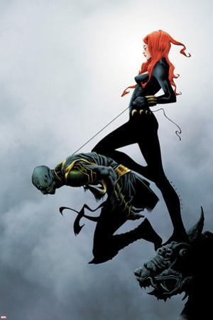 Widowmaker No.2 Cover: Black Widow Holding Another By a Rope by Jae Lee