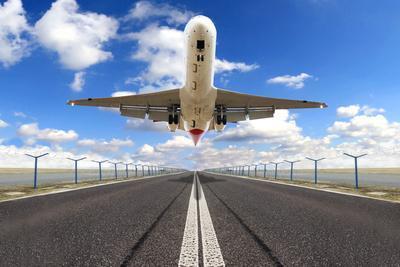 Big Jet Plane Taking off Runway