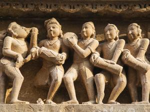 Musicians, Erotic Sculptures of Khajuraho, Madhya Pradesh, India by Jagdeep Rajput