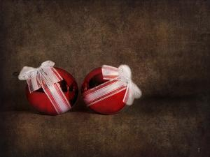 Two Red Ornaments Still Life by Jai Johnson