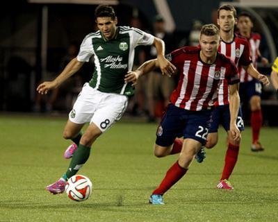 Aug 9, 2014 - MLS: Chivas USA vs Portland Timbers - Diego Valeri, Eriq Zavaleta by Jaime Valdez