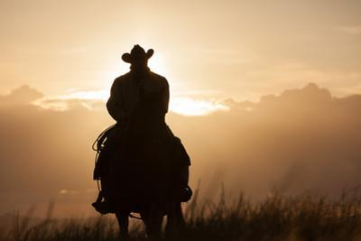 A Cowboy on Horseback at Sunset, in a Pasture