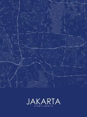 Jakarta, Indonesia Blue Map