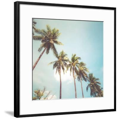 Coconut Palm Tree on Tropical Beach in Summer - Vintage Colour Effect by jakkapan