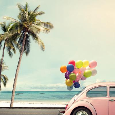 Vintage Card of Car with Colorful Balloon on Beach Blue Sky Concept of Love in Summer and Wedding H