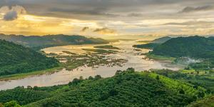 Aerial View of Mekong River and Forest, Thailand by Jakkreethampitakkull