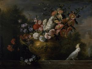 Still Life with Flowers in an Urn, with a Cockatoo, on a Ledge, C.1699 by Jakob Bogdani Or Bogdany