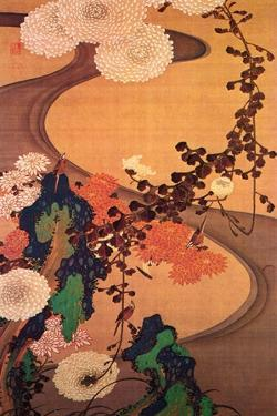 Chrysanthemums by a Stream with Rocks by Jakuchu Ito