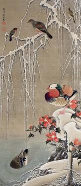 Mandarin Duck in the Snow 1 by Jakuchu Ito