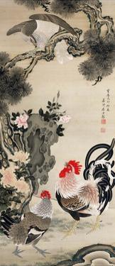 Rooster, Hen and a Falcon by Jakuchu Ito