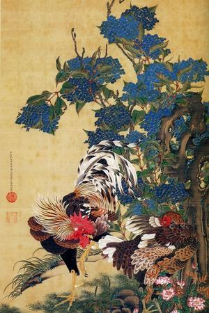 Rooster, Hen and Hydrangea