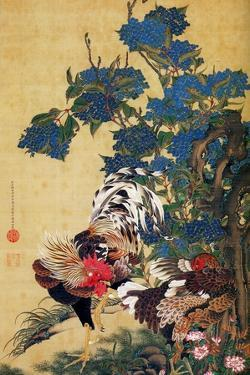 Rooster, Hen and Hydrangea by Jakuchu Ito