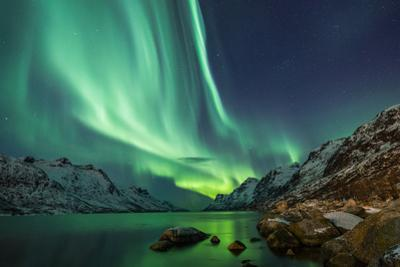 Northern Lights above Waters Edge by Jamen Percy
