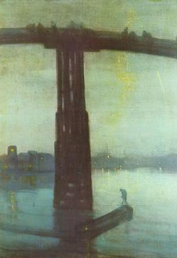 James Abbot McNeill Whistler (The old Battersea Bridge: Nocturne Blue and Gold) Art Poster Print