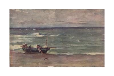 'Harmony in Blue and Silver: Beaching The Boat, Etretat', c1897