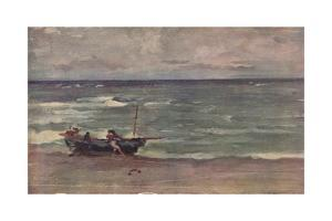 'Harmony in Blue and Silver: Beaching The Boat, Etretat', c1897 by James Abbott McNeill Whistler