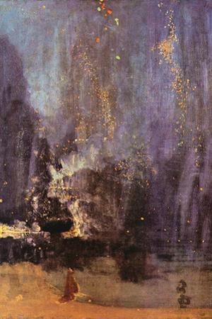 James Abbot McNeill Whistler Nocturne in Black and Gold, Falling Rocket Plastic Sign by James Abbott McNeill Whistler