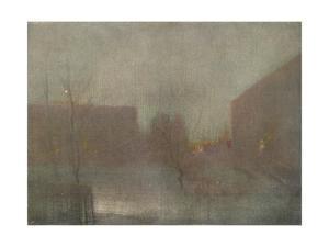 'Nocturne Trafalgar Square Chelsea Snow', 1876 (1903-1904). by James Abbott McNeill Whistler