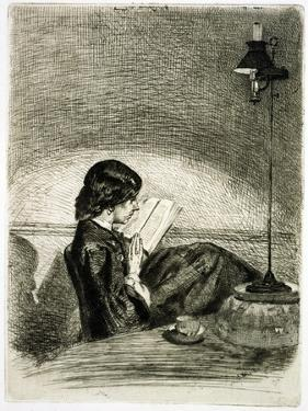 Reading by Lamplight, 1858 by James Abbott McNeill Whistler