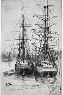 Two Ships, 19th Century by James Abbott McNeill Whistler