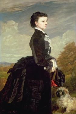 Portrait of a Lady in Black with a Dog, 1875 by James Archer