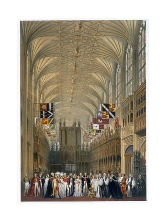 Queen Victoria and Prince Albert at a service in St George's Chapel, Windsor Castle, 1838