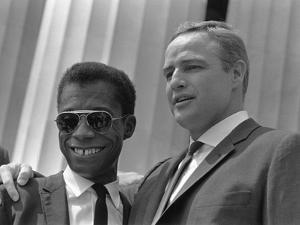James Baldwin and Marlon Brando at the 1963 Civil Rights March, Aug. 28, 1963