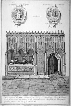 Monument in the Church of St Bartholomew-The-Great, Smithfield, City of London, 1784