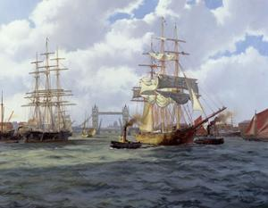 Two Ships Leaving London through Tower Bridge by James Brereton