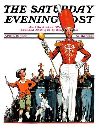 """""""Joining the Parade,"""" Saturday Evening Post Cover, April 18, 1936"""