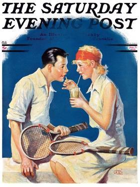 """Tennis Couple,"" Saturday Evening Post Cover, June 21, 1930 by James C. McKell"