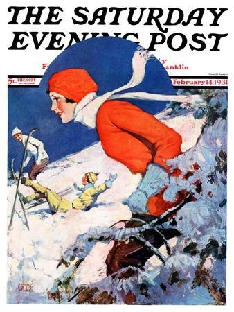 """""""Woman Skier,"""" Saturday Evening Post Cover, February 14, 1931"""